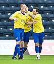 PARS RYAN THOMSON (23) CELEBRATES WITH DAVID GRAHAM AFTER HE SCORES DUNFERMLINE'S SECOND GOAL