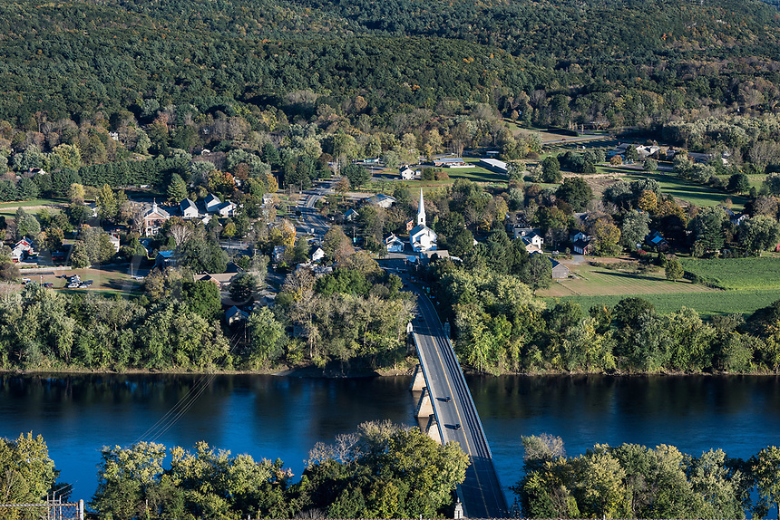 Aerial view of the town of Sunderland, Massachusetts, USA.