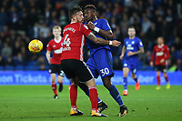 Omar Bogle of Cardiff City is marked by Luke Chambers of Ipswich during the Sky Bet Championship match between Cardiff City and Ipswich Town at The Cardiff City Stadium, Cardiff, Wales, UK. Tuesday 31 October 2017