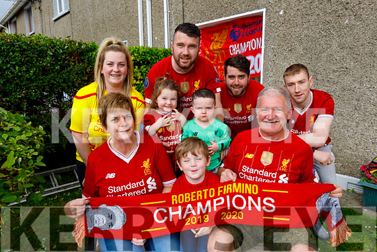 Three generations of the Moriarty family in St Brendan's Park celebrate Liverpools winning the Premiership.<br /> Seated l to r: Sinead, Jamie and Jack Moriarty.<br /> Back l to r: Shauna, Ruby, Tommy, Rian, Fergal Moriarty and Cian Connor.