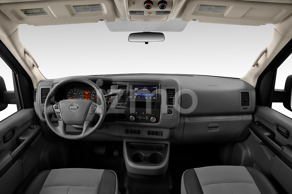 Stock photo of straight dashboard view of 2020 Nissan NV-Passenger S 4 Door Passenger Van Dashboard