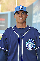 Rafael Suarez #31 of the Asheville Tourists poses during media day at McCormick Field on April 4, 2011 in Asheville, North Carolina.  Photo by Tony Farlow / Four Seam Images..