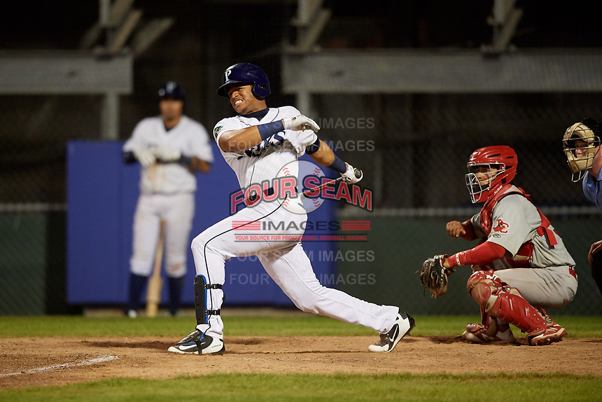 Princeton Rays left fielder Pedro Diaz (30) follows through on a swing during the second game of a doubleheader against the Johnson City Cardinals on August 17, 2018 at Hunnicutt Field in Princeton, Virginia.  Princeton defeated Johnson City 12-1.  (Mike Janes/Four Seam Images)