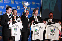 MLS commissioner Don Garber (center) with the chief executive officer and managing partner of FC Pennsylvania Stadium L.L.C. Nick Sakiewicz, and owners co-owner Robert Buccini, co-owner Jay Sugarman, and co-owner James Nevels during the announcement of an MLS franchise for the city of Philadelphia at the Wharf at Rivertown in Chester, PA, on February 28, 2008.