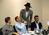 Pictured: Angel Rangel (C) with Leroy Fer and Neil Taylor (R) Thursday 08 April 2016<br />Re: Zimkids dinner at the Liberty Stadium, Swansea, UK