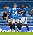 25.10.2020 Rangers v Livingston: Jermain Defoe celebrates his goal with Ryan Kent