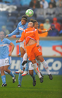 Red Stars player  Megan Rapinoe and  Sky Blue FC player Anita Asante both fight for the ball. Sky Blue FC tied Chicago Red Stars 0-0 on April 19, 2009.