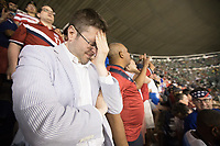 MEXICO CITY, MEXICO - June 11, 2017:  USA fans react to a play at the World Cup Qualifier match against Mexico at Azteca Stadium.