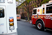 April 22, 2020<br /> Brooklyn, New York<br /> Park Slope<br /> 7PM<br /> <br /> Firefighters, local residents and EMS paramedics come out to applaud the medical staff at NewYork-Presbyterian Brooklyn Methodist Hospital handling the influx of coronavirus pandemic.