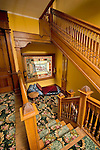 Historic Peter Herdic Inn. Staircase and stained glass window.