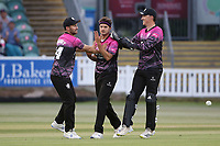 Jack Brooks of Somerset celebrates with his team mates after taking the wicket of Tom Westley during Somerset vs Essex Eagles, Vitality Blast T20 Cricket at The Cooper Associates County Ground on 9th June 2021