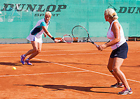 Netherlands, Amstelveen, August 23, 2015, Tennis,  National Veteran Championships, NVK, TV de Kegel,  Final lady's double 55+, Josephine van der Stroom (R) and her partner Lievers-Kronenburg<br /> Photo: Tennisimages/Henk Koster