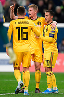 Team captain Eden Hazard midfielder of Belgium celebrates scoring a goal with teammate Kevin De Bruyne forward of Belgium  <br /> Saint Petersbourg  - Qualification Euro 2020 - 16/11/2019 <br /> Russia - Belgium <br /> Foto Photonews/Panoramic/Insidefoto <br /> ITALY ONLY
