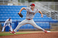 Clearwater Threshers relief pitcher Aaron Brown (25) delivers a pitch during a game against the Dunedin Blue Jays on April 8, 2018 at Dunedin Stadium in Dunedin, Florida.  Dunedin defeated Clearwater 4-3.  (Mike Janes/Four Seam Images)