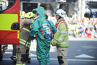Pictured: Saturday 17 September 2016<br /> Re: Roald Dahl's City of the Unexpected has transformed Cardiff City Centre into a landmark celebration of Wales' foremost storyteller, Roald Dahl, in the year which celebrates his centenary. Emergency services start the show, reacting to a mystery giant peach landing in Cardiff.