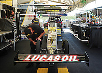 Jul, 8, 2011; Joliet, IL, USA: NHRA top fuel dragster driver Morgan Lucas pit area during qualifying for the Route 66 Nationals at Route 66 Raceway. Mandatory Credit: Mark J. Rebilas-