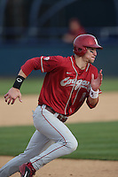Ben Roberts #11 of the Washington State Cougars runs the bases during a game against the Cal State Fullerton Titans at Goodwin Field on  February 15, 2014 in Fullerton, California. Washington State defeated Fullerton, 9-7. (Larry Goren/Four Seam Images)