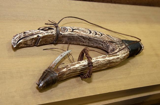 Coast Salish harpoon fish hook on display at a wood carving studio on the Tulalip Tribes reservation, Marysville WA.