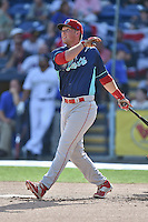 Hickory Crawdads infielder Rhys Hoskins (12) participates in the South Atlantic League All Star Game Home Run Derby on June 23, 2015 in Asheville, North Carolina. The North Division defeated the South 7-5(Tony Farlow/Four Seam Images)