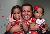 President of Venezuela Hugo Chavez during the inauguration of a special care medical unit for mothers and babies.
