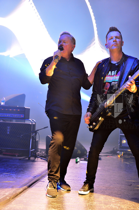 MIAMI BEACH, FLORIDA - JANUARY 18: Bernard Sumner,  and Tom Chapman of New Order perform on stage at the Fillmore Miami Beach at the Jackie Gleason Theater on January 18, 2020 in Miami Beach, Florida.  ( Photo by Johnny Louis / jlnphotography.com )