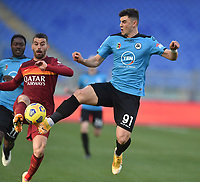 Roberto Piccoli of Spezia and Leonardo Spinazzola of Roma  during the Serie A football match between AS Roma and AC Spezia at Olimpico stadium in Roma (Italy), Jannuary 23th, 2021. Photo Antonietta Baldassarre / Insidefoto