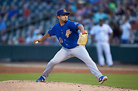 Durham Bulls starting pitcher Arturo Reyes (11) in action against the Charlotte Knights at BB&T BallPark on July 31, 2019 in Charlotte, North Carolina. The Knights defeated the Bulls 9-6. (Brian Westerholt/Four Seam Images)