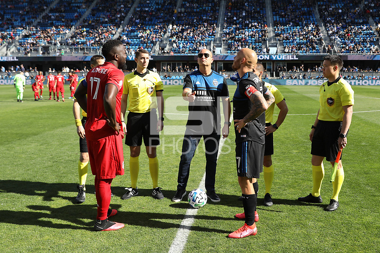 SAN JOSE, CA - FEBRUARY 29: Coin toss, Jozy Altidore #17 of Toronto FC, Magnus Eriksson #7 of the San Jose Earthquakes during a game between Toronto FC and San Jose Earthquakes at Earthquakes Stadium on February 29, 2020 in San Jose, California.