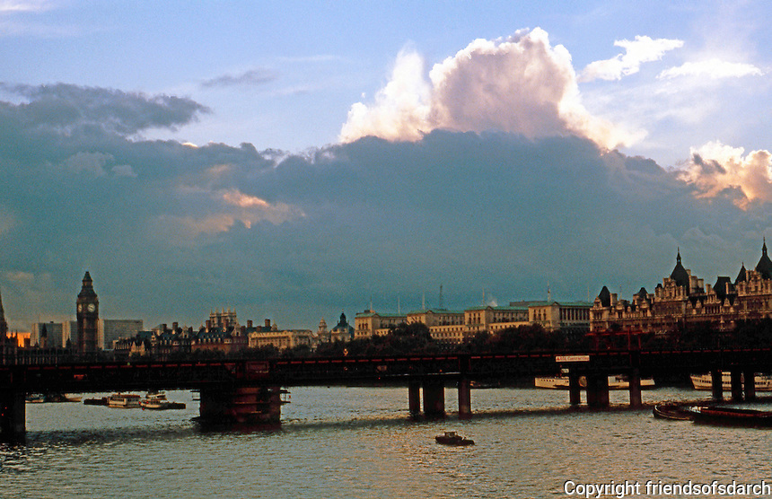 London: Looking west from Waterloo Bridge, 1979.