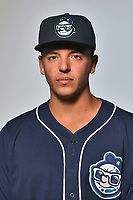 Asheville Tourists infielder Colton Welker (24) poses for a photo at Story Point Media on April 4, 2017 in Asheville, North Carolina. (Tony Farlow/Four Seam Images)