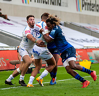21st August 2020; AJ Bell Stadium, Salford, Lancashire, England; English Premiership Rugby, Sale Sharks versus Exeter Chiefs; Marland Yarde of Sale Sharks tackles Henry Slade of Exeter Chiefs