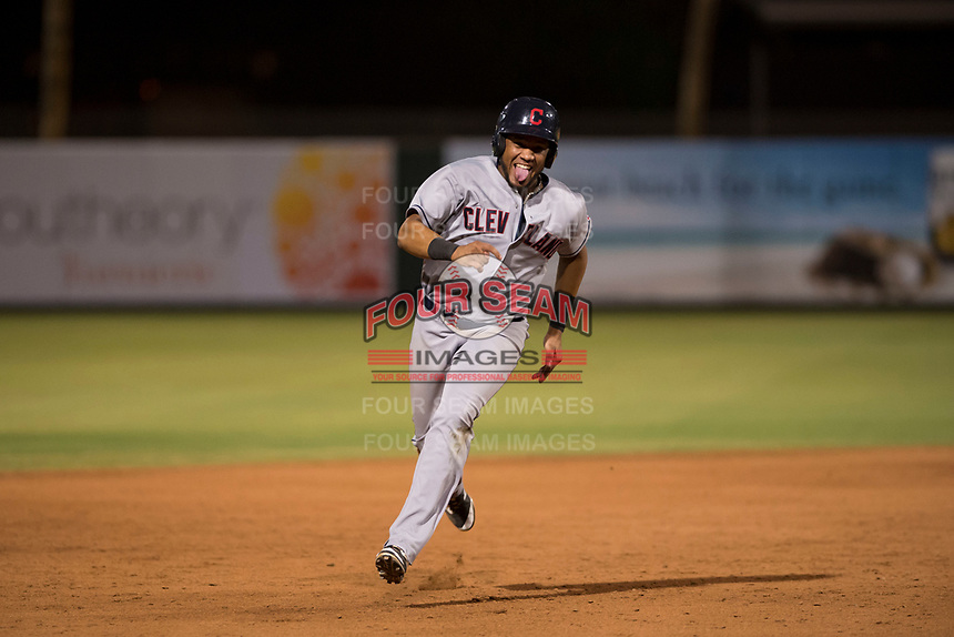 AZL Indians 2 left fielder Cristopher Cespedes (30) hustles towards third base during an Arizona League game against the AZL Angels at Tempe Diablo Stadium on June 30, 2018 in Tempe, Arizona. The AZL Indians 2 defeated the AZL Angels by a score of 13-8. (Zachary Lucy/Four Seam Images)