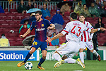 Sergi Roberto Carnicer (l) of FC Barcelona is tackled by Dimitris Nikolaou of Olympiacos FC during the UEFA Champions League 2017-18 match between FC Barcelona and Olympiacos FC at Camp Nou on 18 October 2017 in Barcelona, Spain. Photo by Vicens Gimenez / Power Sport Images