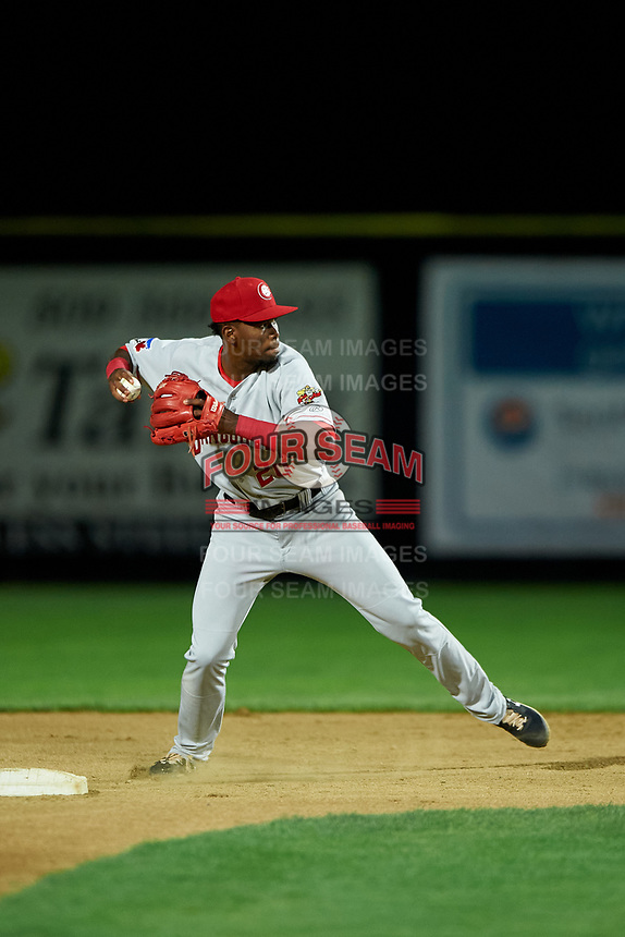 Vancouver Canadians shortstop Luis De Los Santos (20) attempts to turn a double play during a Northwest League game against the Tri-City Dust Devils at Gesa Stadium on August 21, 2019 in Pasco, Washington. Vancouver defeated Tri-City 1-0. (Zachary Lucy/Four Seam Images)