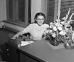 Pittsburgh PA:  Photo of Sally Stewart, office manager, for Brady Stewart Studio, Inc.  Sally was the daughter of Brady Stewart and sister of Brady Stewart Jr.