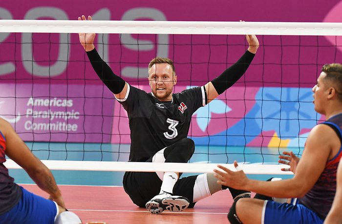 Austin Hinchey, Lima 2019 - Sitting Volleyball // Volleyball assis.<br /> Canada competes in men's Sitting Volleyball // Canada participe au volleyball assis masculin. 24/08/2019.