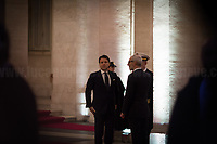 The Italian Prime Minister, Giuseppe Conte.<br /> <br /> Rome, 24/01/2020. Today, Mike Pence, Vice President of the United States of America (Member of the Republican Party, supporter of the Tea Party Movement, and former Governor of Indiana), visited Palazzo Chigi where he met with the Italian Prime Minister Giuseppe Conte.