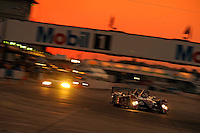 12-15 March 2008, Sebring, Florida, USA.The #1 Audi R10 speeds into turn one during night practice..©F.Peirce Williams 2008, USA .