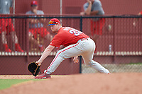 Philadelphia Phillies Danny Mayer (35) stretches to receive a throw during an Instructional League game against the Toronto Blue Jays on September 30, 2017 at the Carpenter Complex in Clearwater, Florida.  (Mike Janes/Four Seam Images)