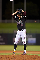 Arizona State University Sun Devils relief pitcher RJ Dabovich (11) prepares to deliver a pitch during an Instructional League game against the Texas Rangers at Surprise Stadium on October 6, 2018 in Surprise, Arizona. (Zachary Lucy/Four Seam Images)