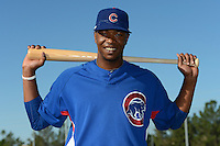Chicago Cubs outfielder Eloy Jimenez (32) poses for a photo before an Instructional League game against the San Francisco Giants on October 18, 2013 at Giants Baseball Complex in Phoenix, Arizona.  (Mike Janes/Four Seam Images)