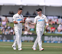Trent Boult and Matt Henry of New Zealand during day one of the second International Test Cricket match between the New Zealand Black Caps and Pakistan at Hagley Oval in Christchurch, New Zealand on Sunday, 3 January 2021. Photo: Martin Hunter / lintottphoto.co.nz