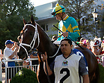 August 14, 2021: Glynn County #2, ridden by jockey Julian Leparoux in the paddock prior to the Mister D Stakes at Arlington Park Racecourse on August 14, 2021 in Arlington Heights, Illinois. Ryan Thompson/Eclipse Sportswire/CSM