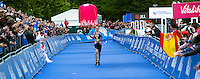 31 MAY 2015 - LONDON, GBR - Alistair Brownlee (GBR) from Great Britain celebrates winning the 2015 ITU World Triathlon Series round in Hyde Park, London, Great Britain (PHOTO COPYRIGHT © 2015 NIGEL FARROW, ALL RIGHTS RESERVED)