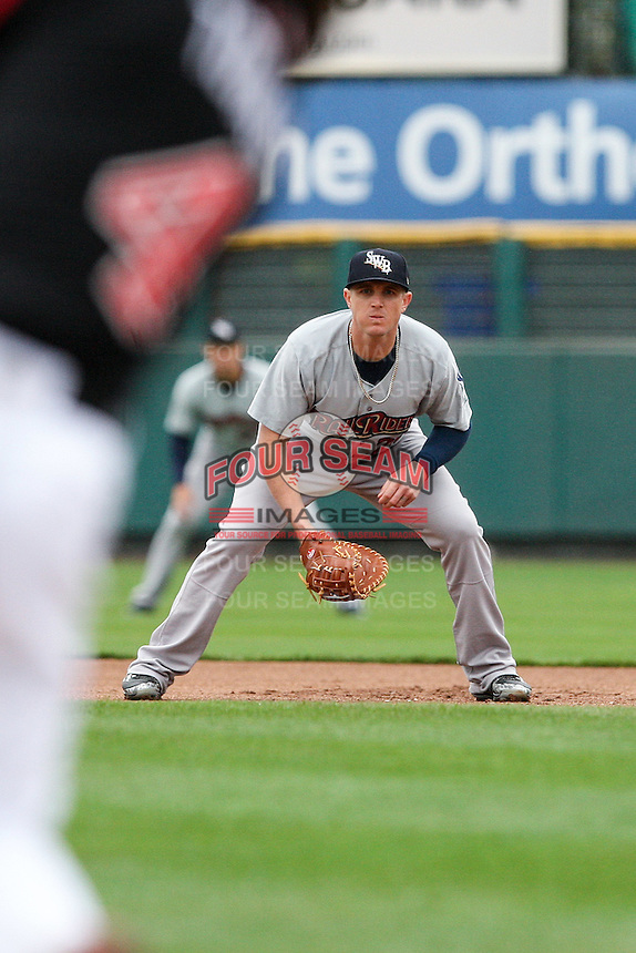 Scranton Wilkes-Barre Railriders first baseman Chris Parmelee (24) prepares for the ball against the Rochester Red Wings on May 1, 2016 at Frontier Field in Rochester, New York. Red Wings won 1-0.  (Christopher Cecere/Four Seam Images)