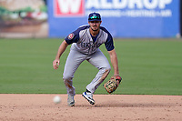 First baseman Joe Genord (20) of the Brooklyn Cyclones during a game against the Greenville Drive on Sunday, May 16, 2021, at Fluor Field at the West End in Greenville, South Carolina. (Tom Priddy/Four Seam Images)