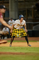 Savannah Bananas Daniel Oberst (28) leads off during a Coastal Plain League game against the Macon Bacon on July 15, 2020 at Grayson Stadium in Savannah, Georgia.  Savannah wore kilts for their St. Patrick's Day in July promotion.  (Mike Janes/Four Seam Images)