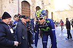 Alejandro Valverde (ESP) Movistar Team at sign on before the start of the 2015 Strade Bianche Eroica Pro cycle race running 200km over the white gravel roads from San Gimignano to Siena, Tuscany, Italy. 7th March 2015<br /> Photo: Eoin Clarke www.newsfile.ie