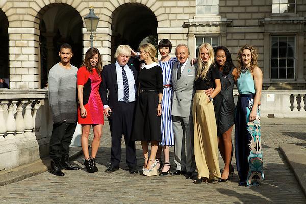 Louis Smith, Heather Fell, Mayor of London Boris Johnson, Laura Bailey, Erin O'Connor, BFC Chairman Harold Tillman CBE, Poppy Delevigne, Anne Keothavong and Amy Williams