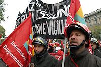 -  demonstration of COBAS, base labor unions, protest of ..firefighters....- manifestazione dei COBAS, sindacati di base, protesta dei Vigili del Fuoco